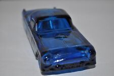 Vtg Avon Blue Glass Bottle Decanter 1955 Thunderbird Car