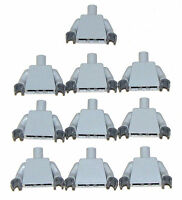 LEGO LOT OF 10 NEW LIGHT BLUISH GREY PLAIN MINIFIGURE TORSOS DARK GREY HANDS