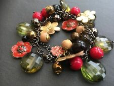 Chunky graphite-toned chain bracelet with red/green/black beads BR07