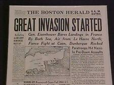 VINTAGE NEWSPAPER HEADLINE ~WORLD WAR 2 HITLER NAZI FRANCE D-DAY INVASION WWII~