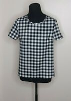SHEIN Womens Black White Short Sleeve Checkered Plaid Keyhole Blouse Top Size XS