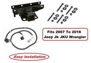 2007-2018 For Jeep Wrangler Jk Jku Trailer Tow Hitch Receiver and Wiring Harness