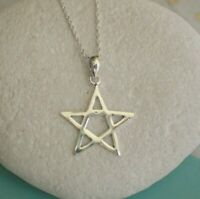 Sterling Silver Pentagram Star Pendant Necklace - UK Seller