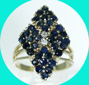 2.20CT VS diamond sapphire geometric ring 14K YG sz 7.5 birthstone 7.3 GM