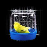 US Small Bird Water Bath Tub Pet Birds Cage Hanging Accessory Bowl Birdbath KH
