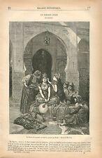Parure de la Mariée Mariage Arabe Algérie Pierre-Marie Beyle GRAVURE PRINT 1879