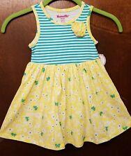 Dress (2) Soft Cotton Girls Sleeveless Girls Multi Color Casual Yellow Blue 4T