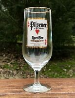 "PILSENER of El Salvador Beer 7"" Stemmed with Gold Rim Bar Glass, Made in Germany"