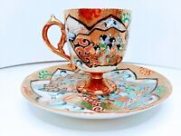 Antique IE & Co Hand Painted Fine Porcelain Demitasse Set 1885 -1925