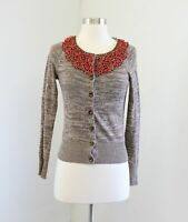 Moth Anthropologie Jewelers Choice Beaded Linen Cardigan Sweater XS Brown Coral