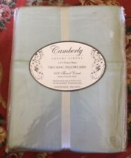 Camberly Luxury Linens 600 Thread Count 100% Cotton Sateen Two King Pillowcases