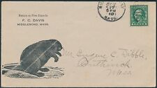 """1911 Vf Illust Advt Cover With A """"Beaver"""" Quite Rare To Southwick, Mass. Bs1570"""