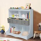 Kids Toy Storage Cabinet Playroom Chest Organizer Bookcase Shelf White Furniture