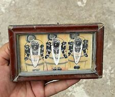 ANTIQUE HAND PAINTING OF GOD SHRINATH JI DIFFER POSITIONS SILVER WORK FRAMED PIC