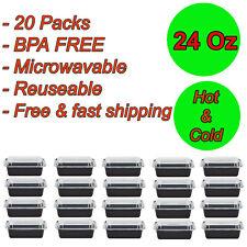 20 Packs 24oz Meal Prep BPA FREE Microwavable Reusable