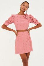For Love And Lemons Pink Polka Dot Co Ord Skirt Crop Top