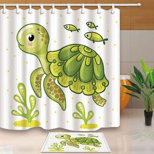 Cartoon cute turtle Bathroom Waterproof polyester Shower Curtain set 71*71inch