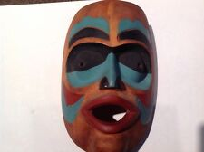 PACIFIC NORTHWEST COAST NATIVE CARVED PAINTED WARRIOR MASK INDIAN ESKIMO CANADA