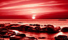 large sea canvas art print red seascape wall picture