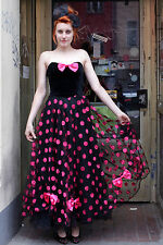 Sina C. & corso Chat donna abito dress nero black pink 90er True Vintage 90´s