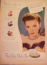 1945 Judy Garland Max Factor Pan~Cake Make-Up Cosmetics Movie Memorabilia AD