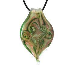 Bleek2sheek Murano Glass Gold, Green and Yellow Twisted Leaf Swirl Pendant Neckl