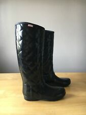 Hunter Boots Quilt Tall Wellington Boots Black Sz 8 EUC