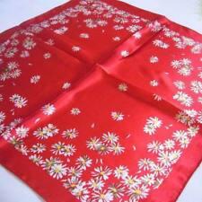 Red little white flowers Soft Neckerchief Shawl Head Bandanas Square Scarf Satin
