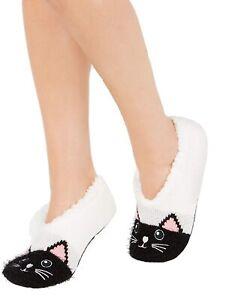 Charter Club Womens Cat Slipper Socks Grey