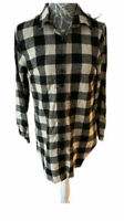 Ladies Shirt Plaid Check Long Shirt Size 10 Black And White