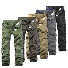MENS FASHION ARMY CARGO COMBAT WORK PANTS CASUAL CAMO MILITARY TROUSERS