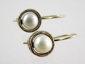Silpada Sterling Silver Pearl Hook Earrings 925 Made in Israel 5.3g 1 Inch Long