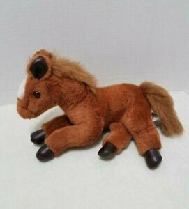 "Mary Meyer Plush Horse 10"" Brown White Blaze Lying Down Pony Stuffed Animal"