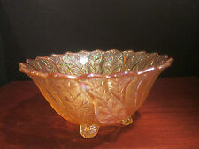 Imperial Carnival Glass ALIG Mark Marigold Acanthus Leaf Footed Bowl 1981-1982