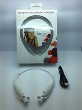 LOT OF 10 NEW BLUETOOTH STEREO HEADSET HANDSFREE AROUND THE NECK UNIVERSAL WHITE