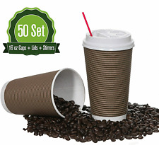 16oz 50 Sets Quality Paper Coffee Cups With Lids Insulated Double Wall