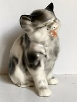 "Cat Meowing Black White Coventry Ceramic Figurine 5.5"" Vtg Mid Century Kitten"