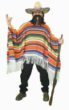 Mexican Spanish Serape Poncho Shirt Throw Adult Mens Womens Costume Accessory