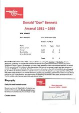 DON BENNET ARSENAL 1950-1959 RARE ORIGINAL HAND SIGNED CUTTING/CARD