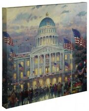 "Thomas Kinkade Wrap - Flags Over the Capital – 20"" x 20"" Wrapped Canvas"