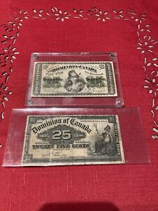 1870 & 1900 Dominion of Canada Shinplaster 25 Cents Fractional Currency