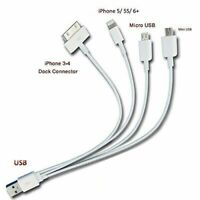 4 Pack Fast Charge Multi Charging Cable USB for iPhone iPad LG Samsung Android
