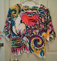 Vintage OP Ocean Pacific Crop Top Multicolor Graffiti 90's Womans One Size