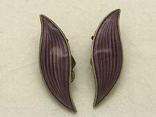"""Aksel Holmsen Purple Leaf Enamel Clip On Earrings Sterling Silver Norway 1.25"""""""
