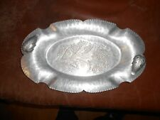 Vintage Continental Hand Wrought Silverlook #602 Tray Flower Design Nice!
