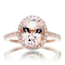 3CT STUNNING CHAMPAGNE MORGANITE AND DIAMOND WOMEN ENGAGEMENT RING 14K GOLD 925