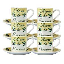 Olives De Provence Porcelain Coffee Cup & Saucer Set x 6pcs - 0.15L