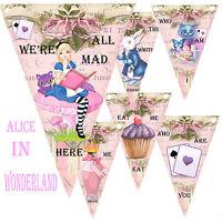 Alice In Wonderland Bunting, Party Decor Garland birthday,christening,Girls Pink