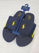 Polo Ralph Lauren Classic Slides Sandals Mens Size 10 Navy W/ yellow Pony Logo