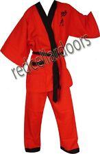 New Boys/Girls 2pc KUNG FU Cotton Pajamas Sz 12 Red w/ Black Trim Fits 10 - 12
